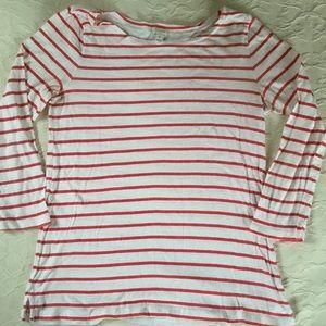 J CREW Red & White Striped Cotton Top Womens M